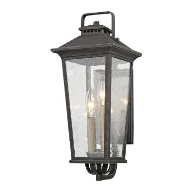 Parsons Field 2-Light Aged Pewter with Seeded Glass Outdoor Wall Lantern Sconce