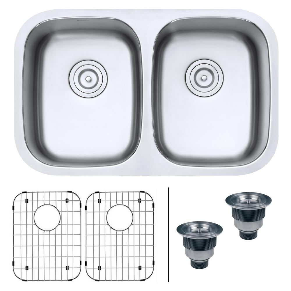 Ruvati 50/50 Undermount 16-Gauge Stainless Steel 29 in. Double Bowl Kitchen Sink, Brushed Stainless Steel With the beauty and functionality of large, deep bowls and classic rounded corners, the Parmi series will complement any kitchen. The gently curved corners ensure perfect water drainage and makes it easy to keep the sink clean. The commercial grade brushed stainless finish hides scratches and blemishes and matches well with your other kitchen appliances. Color: Brushed Stainless Steel.