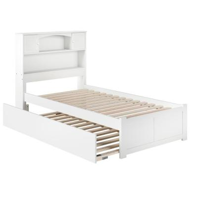 Newport White Twin Platform Bed with Flat Panel Foot Board and Twin Size Urban Trundle Bed