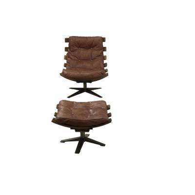 Gandy Retro Brown Top Grain Leather 2-Piece Chair and Ottoman