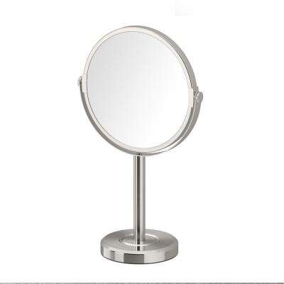 Latitude II Minimalist 12.5 in. Countertop 3x Magnification Makeup Mirror in Satin Nickel