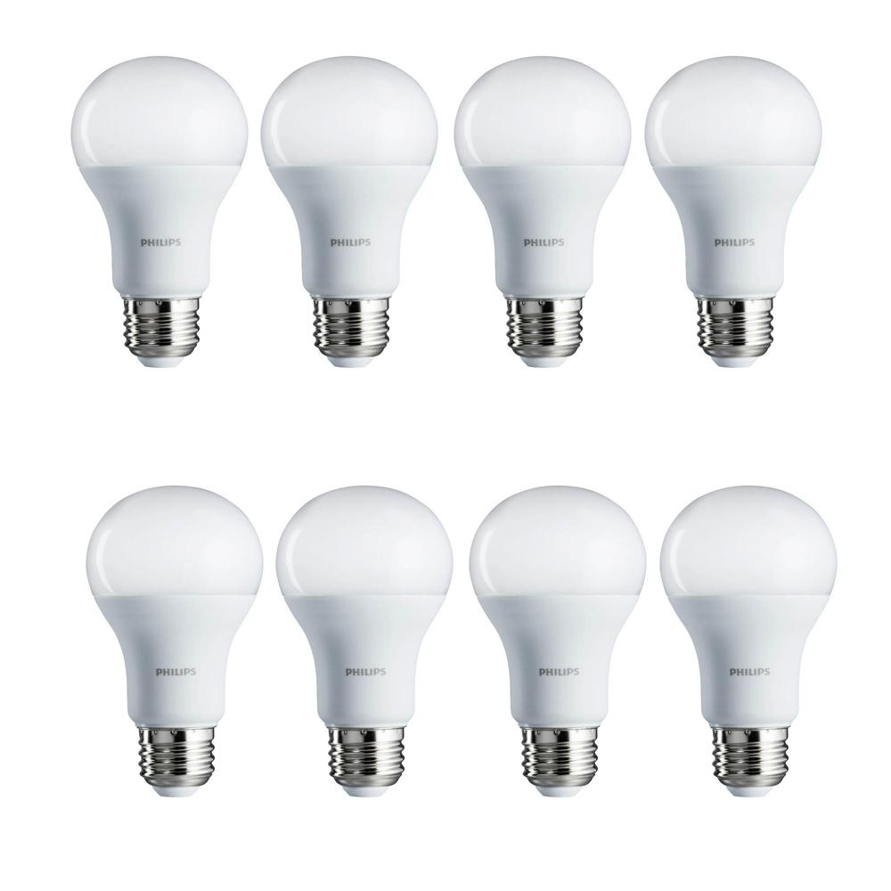 philips 100 watt equivalent daylight led light bulb 8 pack 462002 the home depot. Black Bedroom Furniture Sets. Home Design Ideas