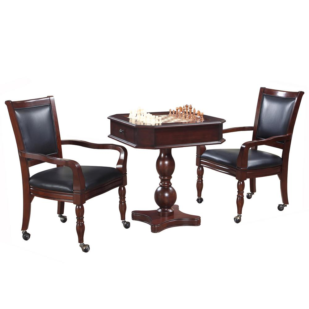 Hathaway Mahogany Fortress Chess Checkers Backgammon Pedestal Table Chairs Set
