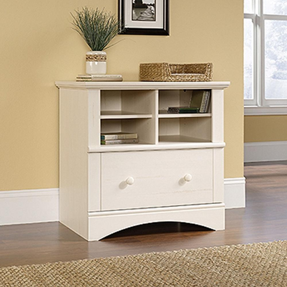SAUDER Harbor View Antiqued White File Cabinet-158002 - The Home Depot