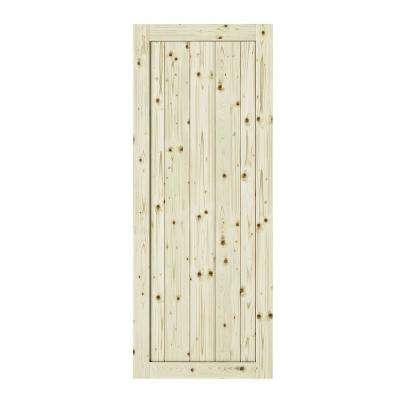 33 in. x 84 in. Rustic 1 Panel Unfinished Knotty Pine Interior Barn Door Slab
