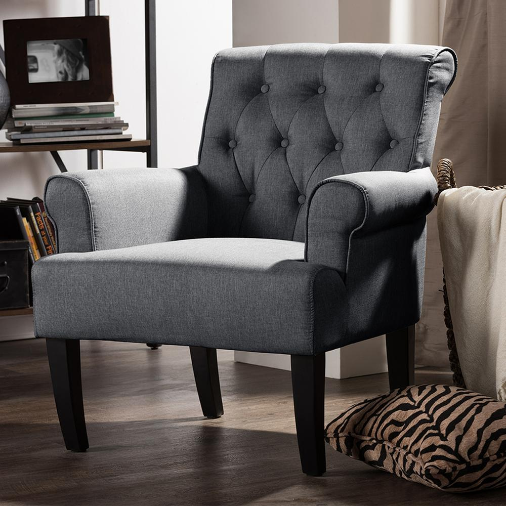 Designer Accent Chairs: Baxton Studio Barret Contemporary Gray Fabric Upholstered