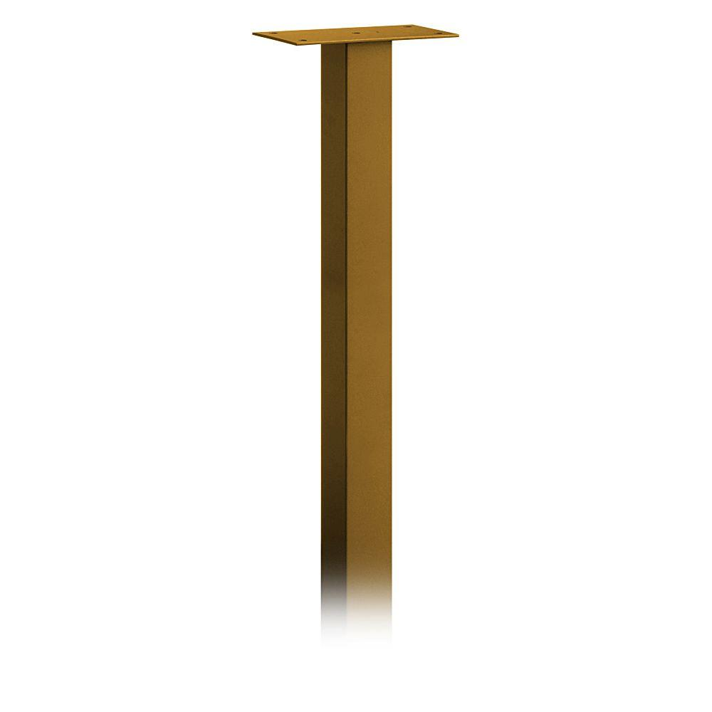 Salsbury Industries Standard In-Ground Mounted Mailbox Pedestal for Designer Roadside Mailboxes in Brass