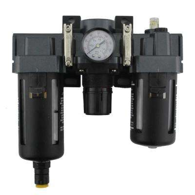 1/4 in. NPT Polycarbonate FRL Air Filter Regulator and Lubricator System