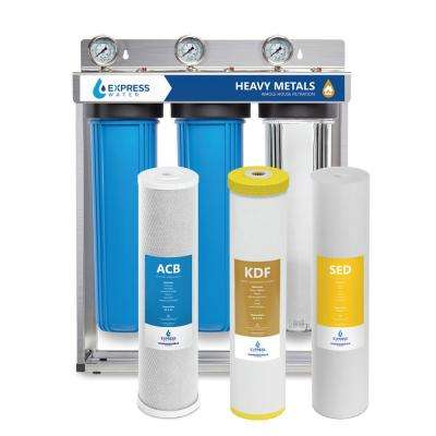 Heavy Metal Whole House Water Filter – 3 Stage Home Water Filtration System – Sediment, KDF, and Carbon Filters