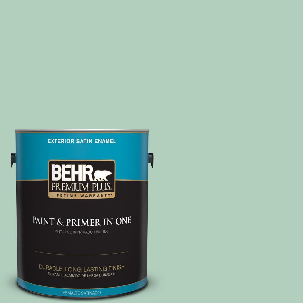 BEHR Premium Plus 1-gal. #T13-12 Jazzy Jade Satin Enamel Exterior Paint