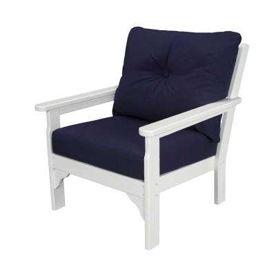 Vineyard Plastic Outdoor Lounge Chair with Navy Cushion