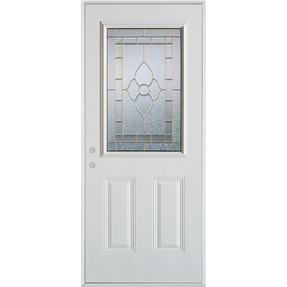 Stanley Doors 33.375 in. x 82.375 in. Traditional Patina 1/2 Lite 2-Panel Painted White Right-Hand Inswing Steel Prehung Front Door