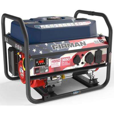 Performance 3650-Watt Gasoline Powered Manual Start Portable Generator with Firmand Engine in Red, White, and Blue