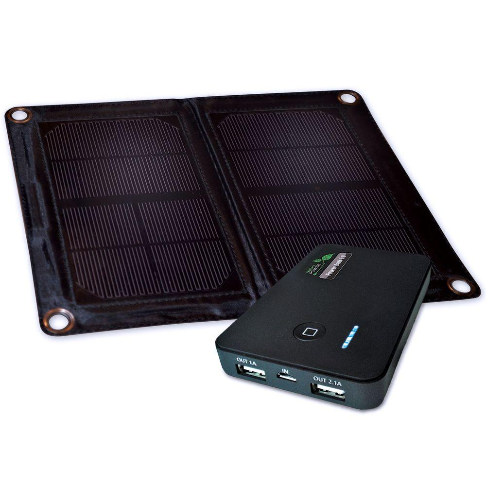 Nature Power 6-Watt Folding Monocrystalline Solar Panel with Power Bank 5.0 Portable Battery Bank