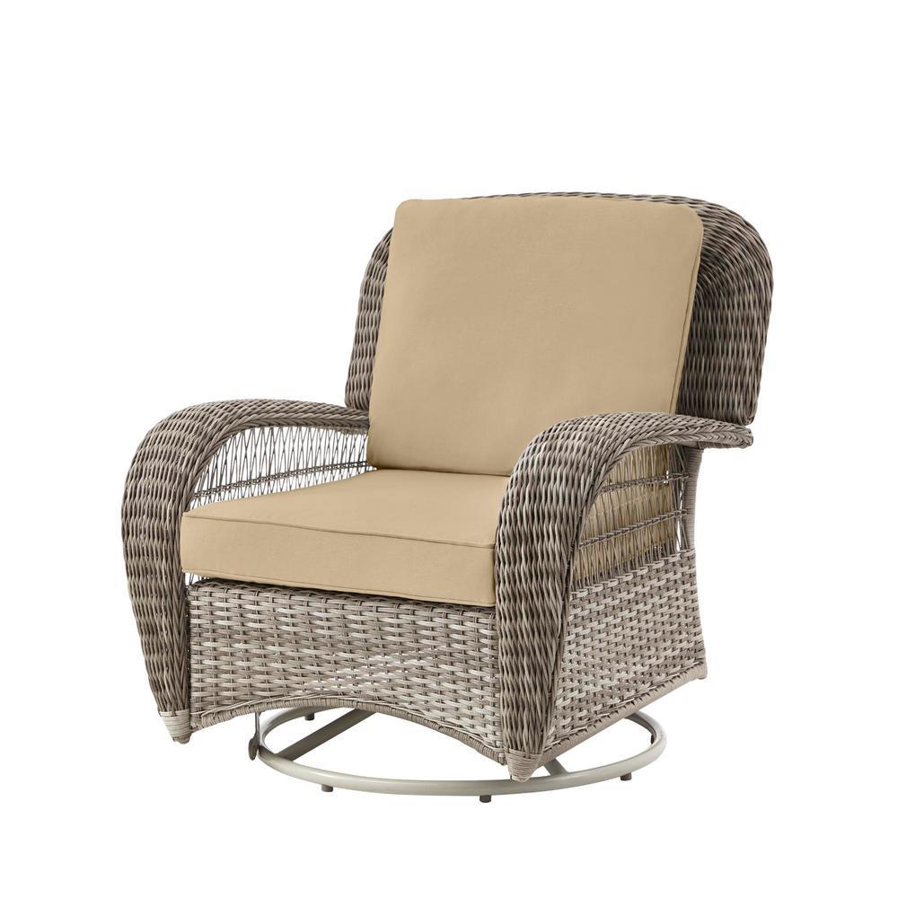 Beacon Park Gray Wicker Outdoor Patio Swivel Lounge Chair with Sunbrella Beige Tan Cushions