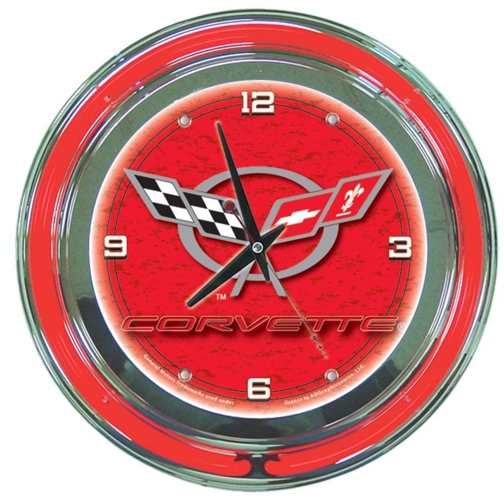 Trademark Global 14 in. Red Corvette C5 Neon Wall Clock