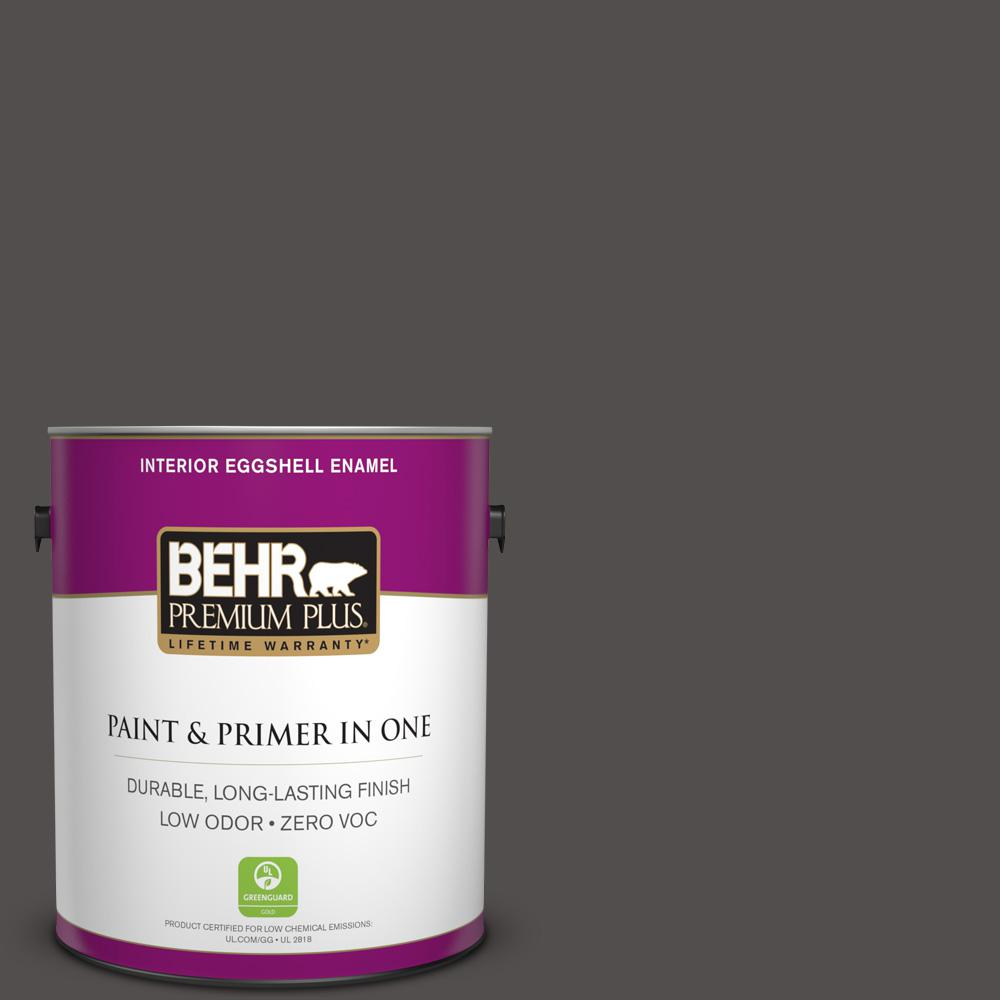 BEHR Premium Plus 1-gal. #790F-7 Dark Cavern Zero VOC Eggshell Enamel Interior Paint