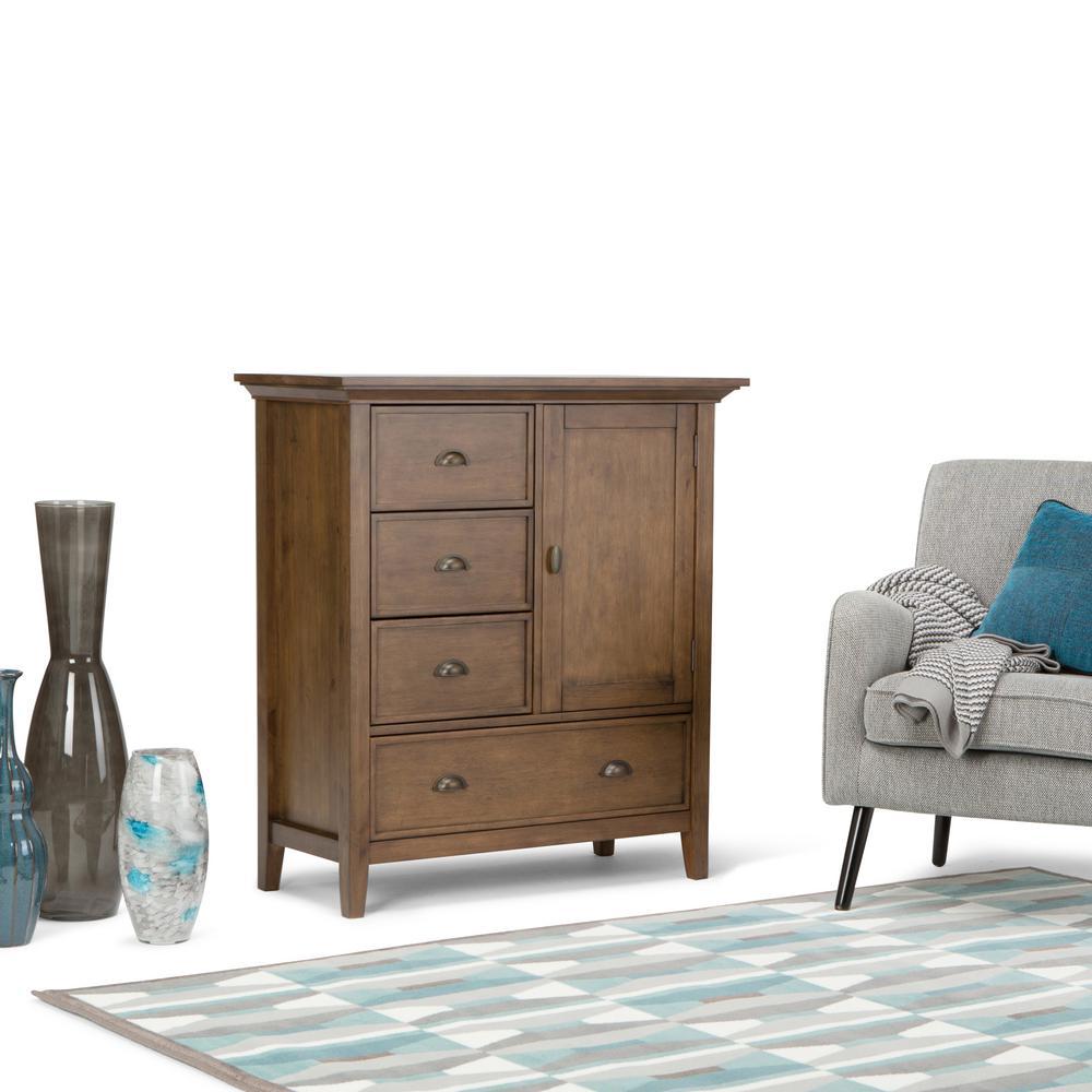 Simpli Home Redmond Medium Rustic Natural Aged Brown Storage ...