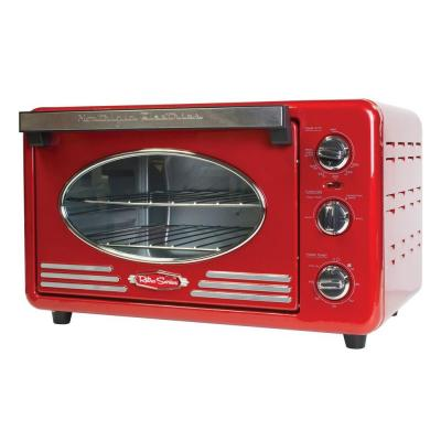 Retro Series 1500 W 12-Slice Red Toaster Oven with Temperature Control