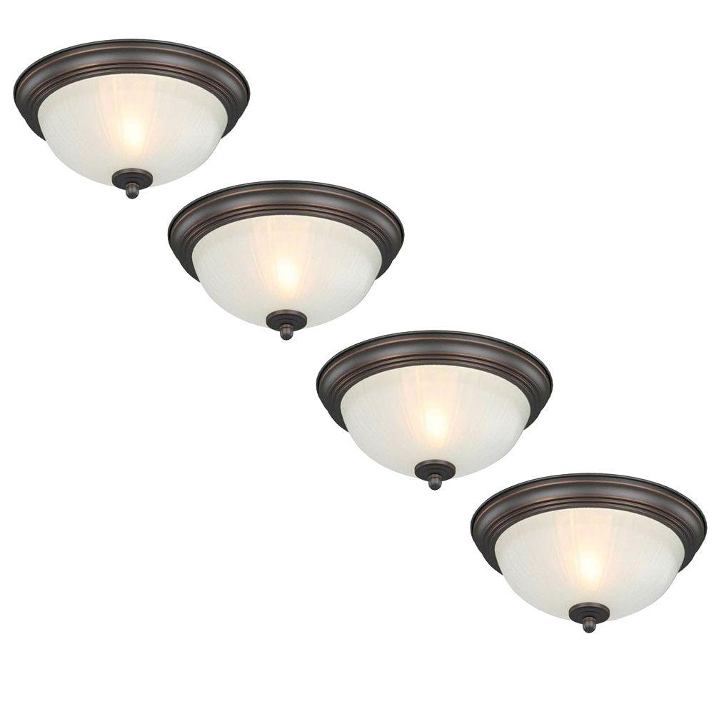 Commercial Electric 11 in 1Light OilRubbed Bronze Flushmount with