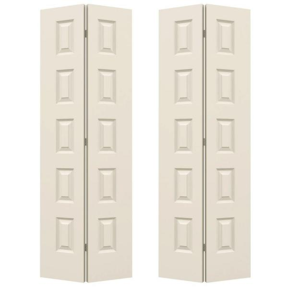 36 in. x 80 in. Rockport Primed Smooth Molded Composite MDF Closet Bi-fold Double Door
