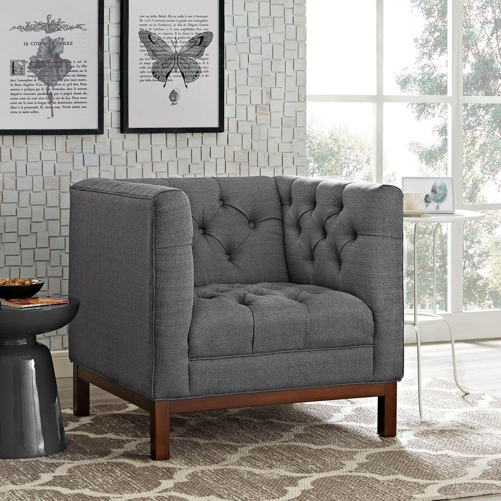Panache Gray Upholstered Fabric Armchair