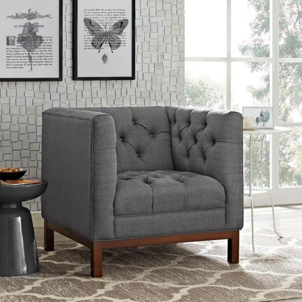 Panache Gray Upholstered Fabric Armchair