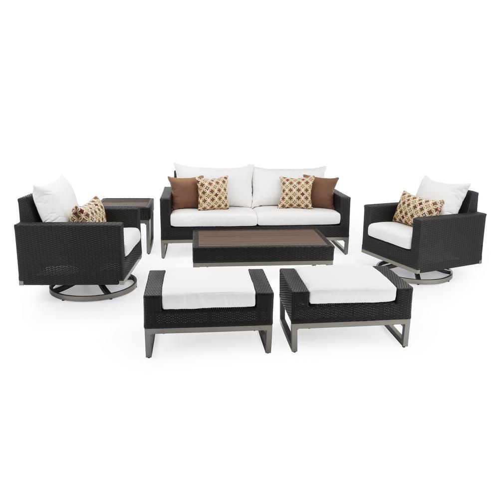 RST Brands Milo Espresso 7-Piece Wicker Motion Patio Deep Seating Conversation Set with Sunbrella Moroccan Cream Cushions