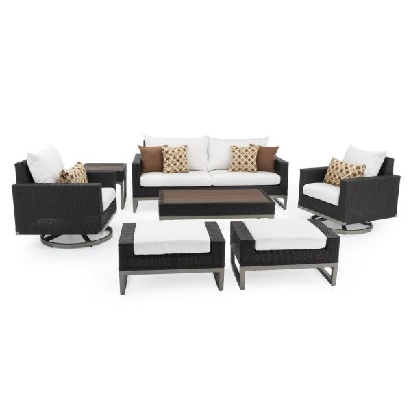 Milo Espresso 7-Piece Wicker Motion Patio Deep Seating Conversation Set with Sunbrella Moroccan Cream Cushions