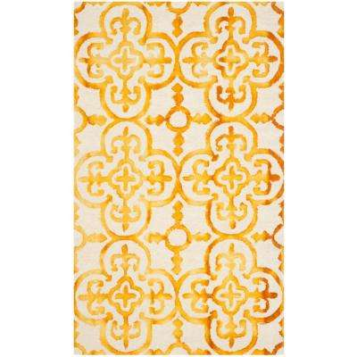 Dip Dye Ivory/Gold 3 ft. x 5 ft. Area Rug