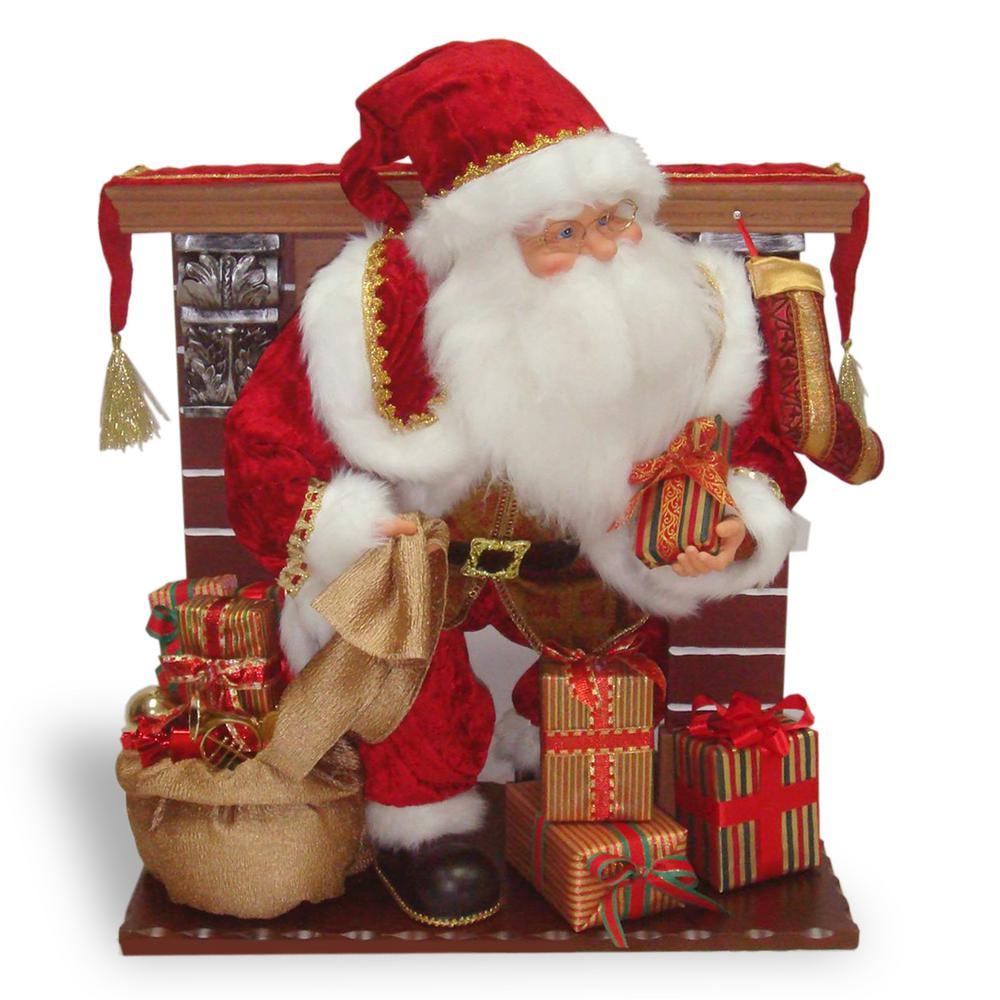 National Tree Company 28 in. Plush Collection Santa at Fireplace This Santa figure is part of the Plush Collection line of holiday decorating ideas. Santa is emerging from the fireplace ready to gather gifts around the tree. This detailed holiday decoration features an ornate fireplace with mantel, tasseled runner and hanging stocking. Santa is in traditional red coat and cap with wrapped gifts topping his bag, under foot and in his hand.