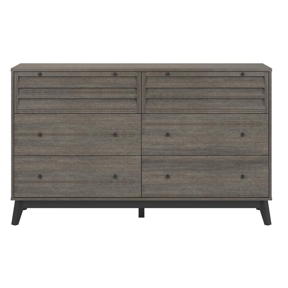 Gammon 6-Drawer Gray Oak Dresser
