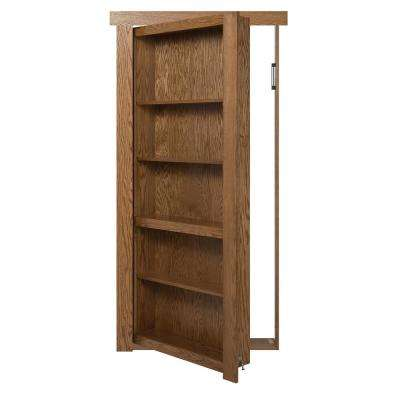 28 in. x 80 in. Flush Mount Assembled Oak Medium Brown Stained Left-Hand Inswing Solid Core Interior Bookcase Door