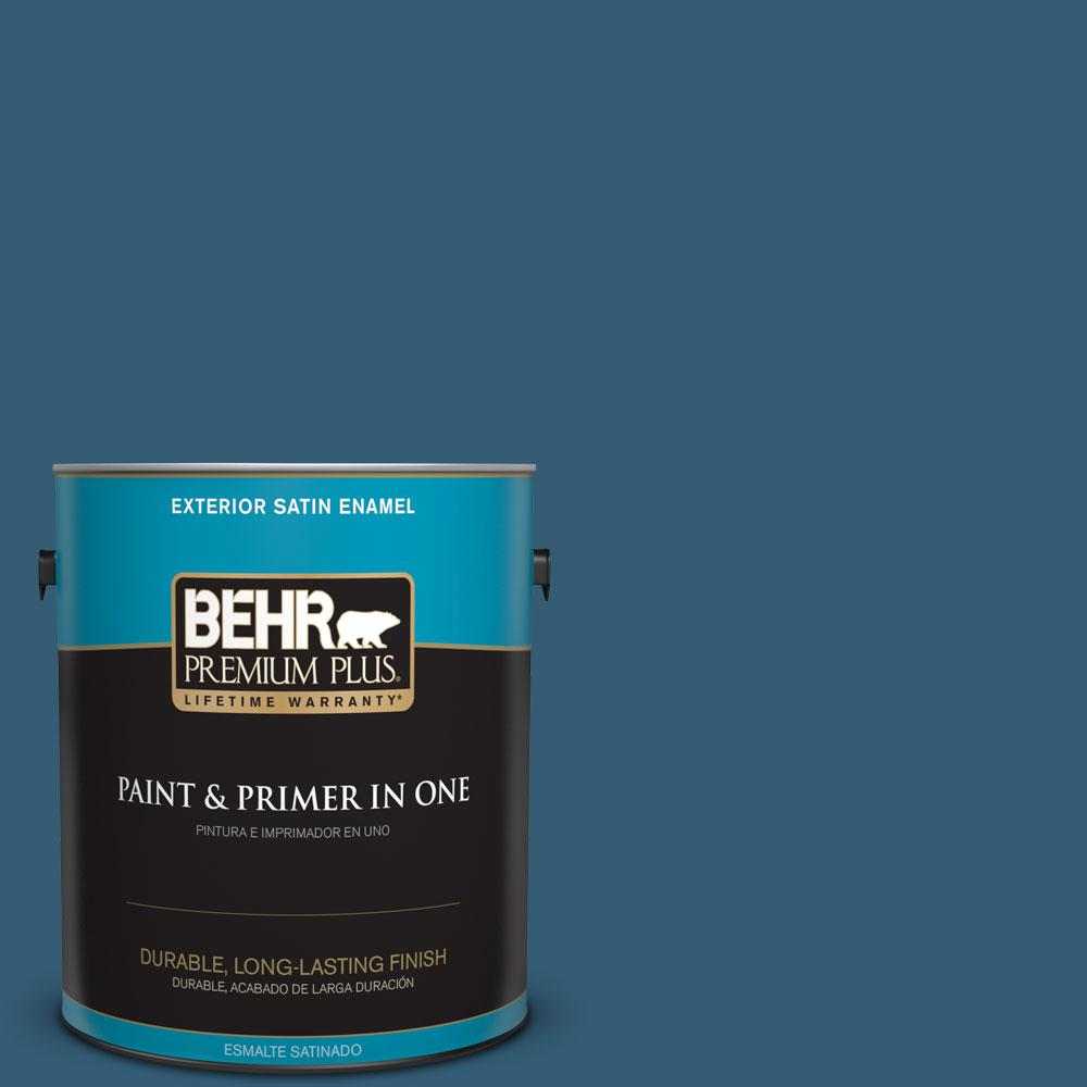 BEHR Premium Plus 1-gal. #M490-7 Shasta Lake Satin Enamel Exterior Paint