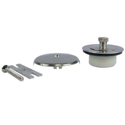 Lift and Turn Tub Drain Kit with Overflow in Brushed Nickel