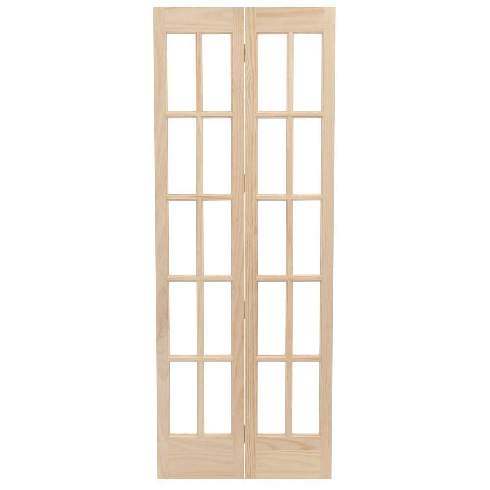Pinecroft 31.5 in. x 78.625 in. Classic French Glass Wood Universal/Reversible Interior Bi-Fold Door