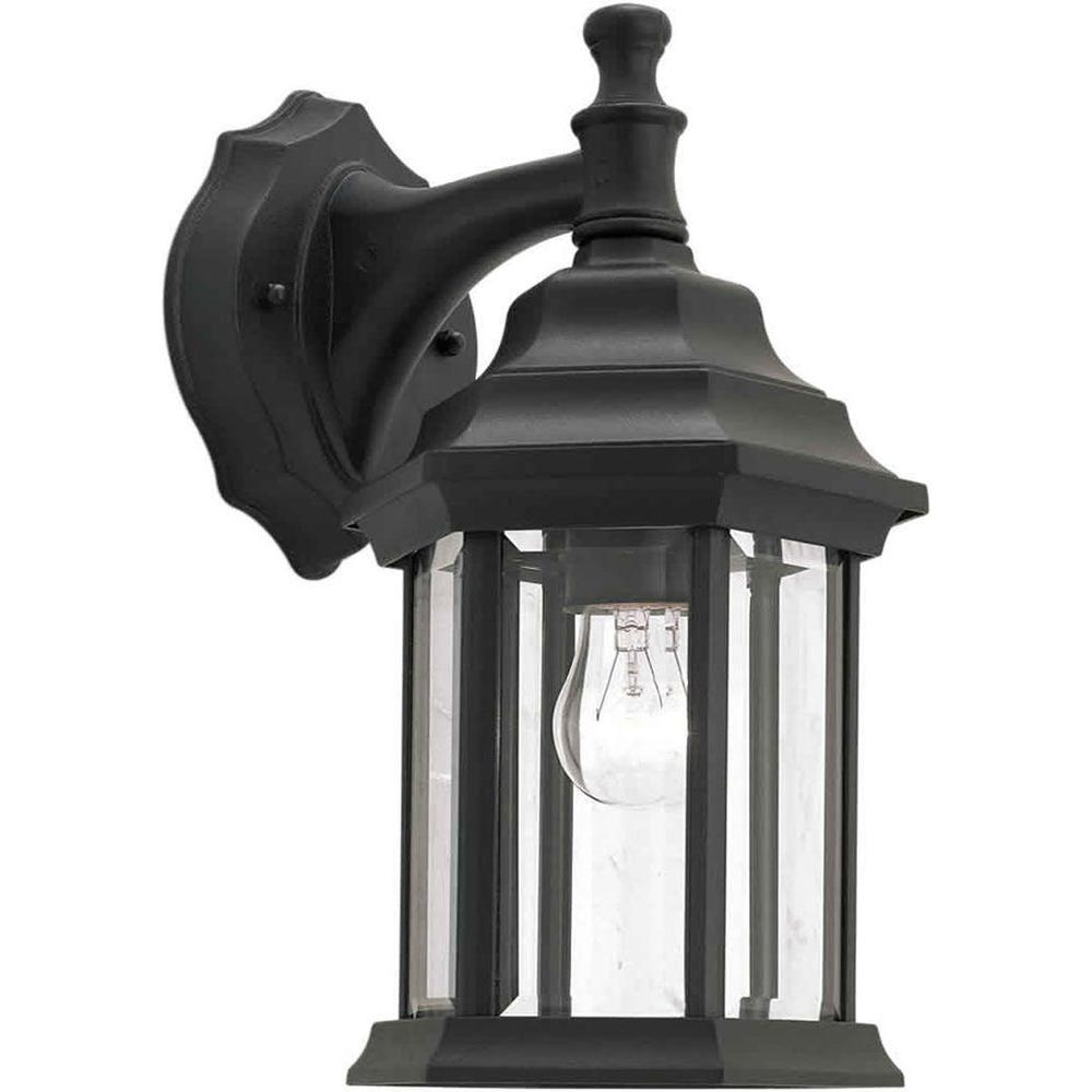 Filament Design 1-Light Black Outdoor Lantern with Clear Beveled Glass