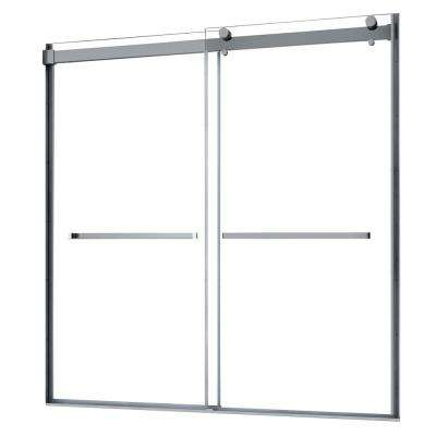 Lagoon 60 in. W x 76 in. H Semi-Frameless Sliding Shower Door in Brushed Nickel without handle
