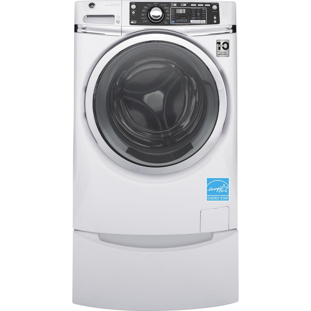 GE 4.9 cu. ft. High-Efficiency Stackable White Front Loading Washing Machine with Steam, ENERGY STAR