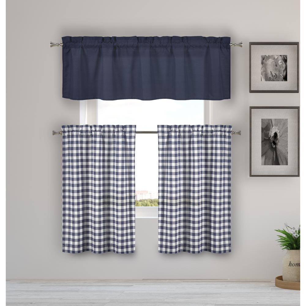 Kinglough Navy Kitchen Curtain Set - 58 in. W x 15 in. L in (3-Piece)