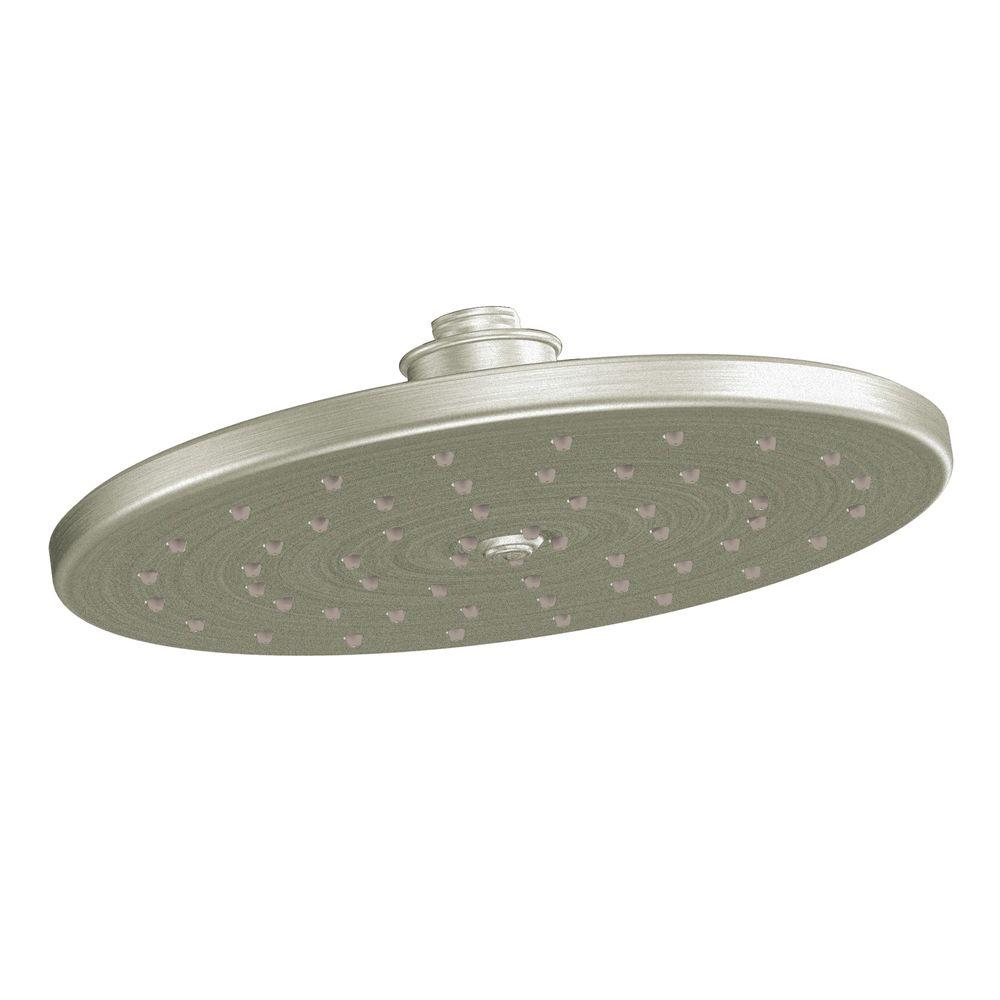 moen rain shower head ceiling. MOEN Waterhill 1 Spray 10 in  Rainshower Showerhead Featuring Immersion White Brushed Nickel S112BN The Home Depot
