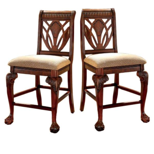 Peters burg II Traditional Cherry Wooden Counter Height Chair (Set of 2)