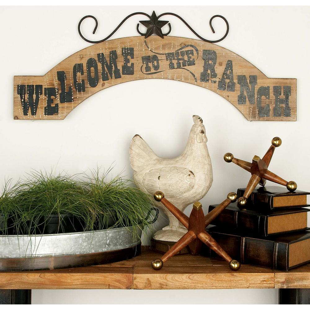 38 in. x 15 in. Western Inspired Iron and Wood Welcome to the Ranch ...