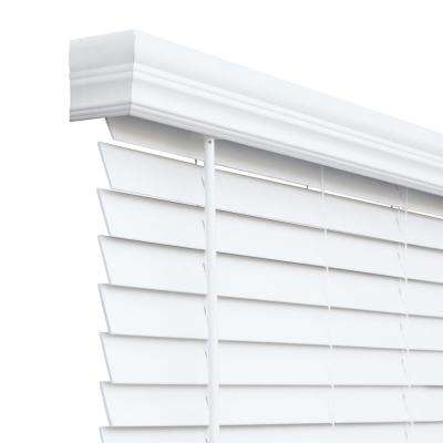 Cut-to-Size Chelsea White Cordless Room Darkening Resists Humidity Faux Wood Blinds with 2 in. Slats 53 in. W x 72 in. L