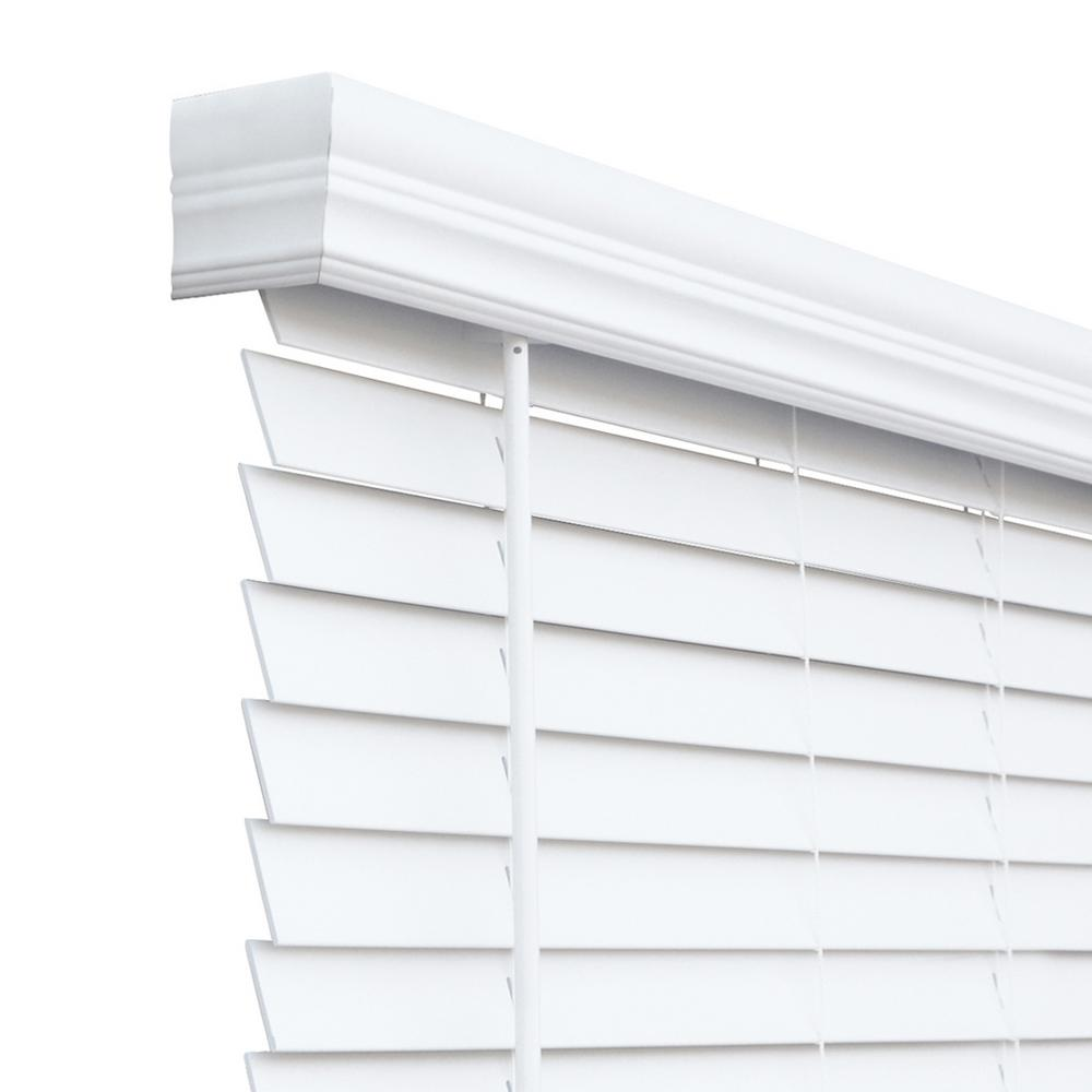 Chicology Cut To Size White Cordless Room Darkening Resists Humidity Faux Wood Blinds With 2 In Slats 57 5 In W X 60 In L Cfwcw I 57 5 60 The Home Depot