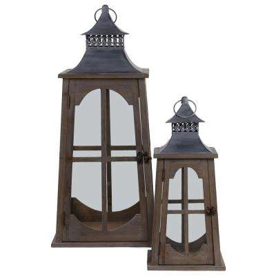 Brown Candle Metal Decorative Lantern