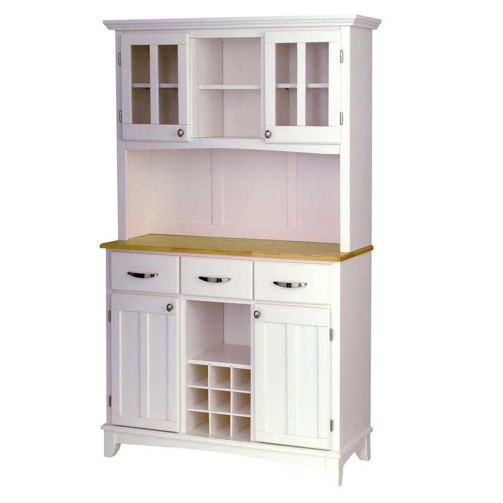 White Kitchen Buffet: Home Styles White And Natural Buffet With Hutch-5100-0021