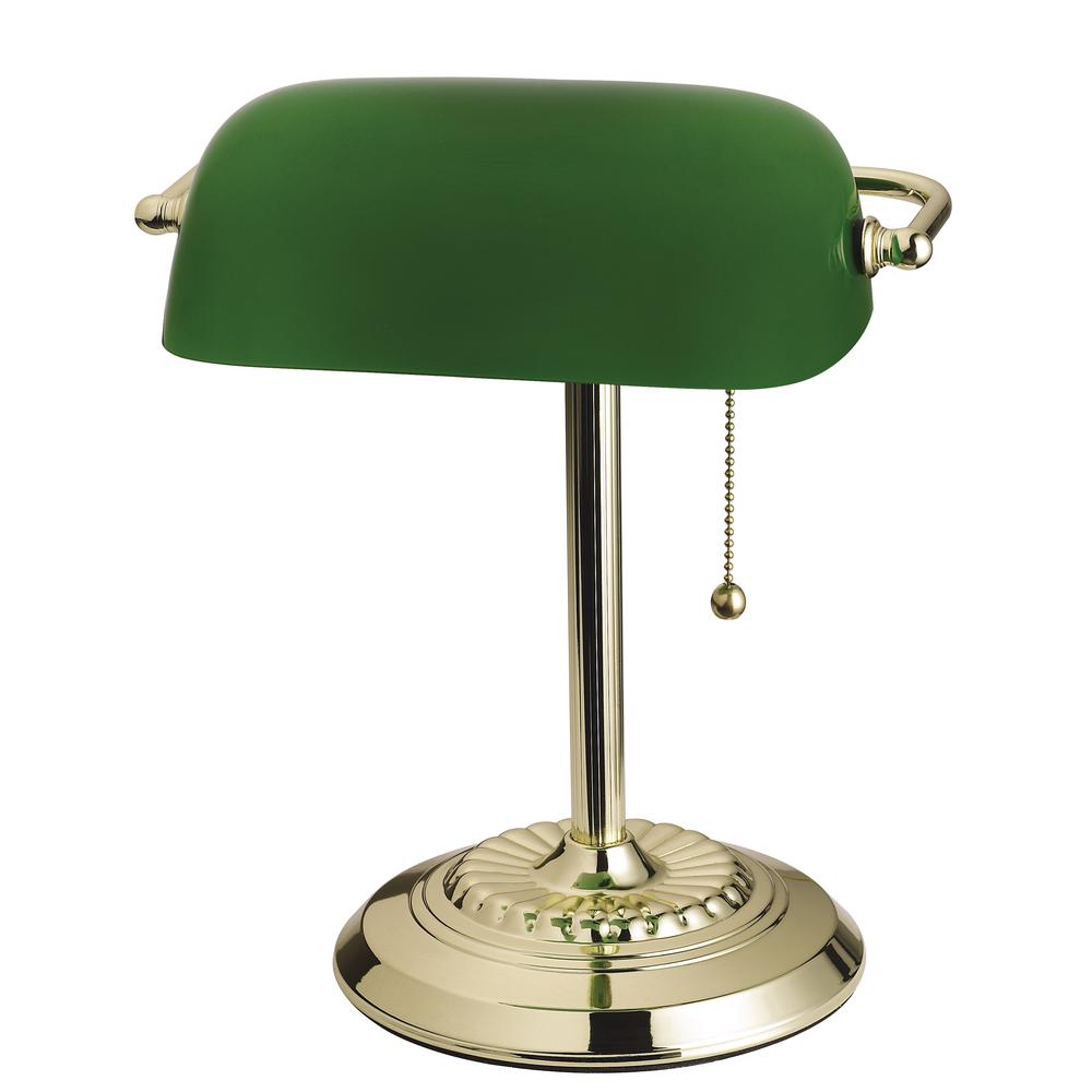 Brass Banker S Desk Lamp With Green Shade