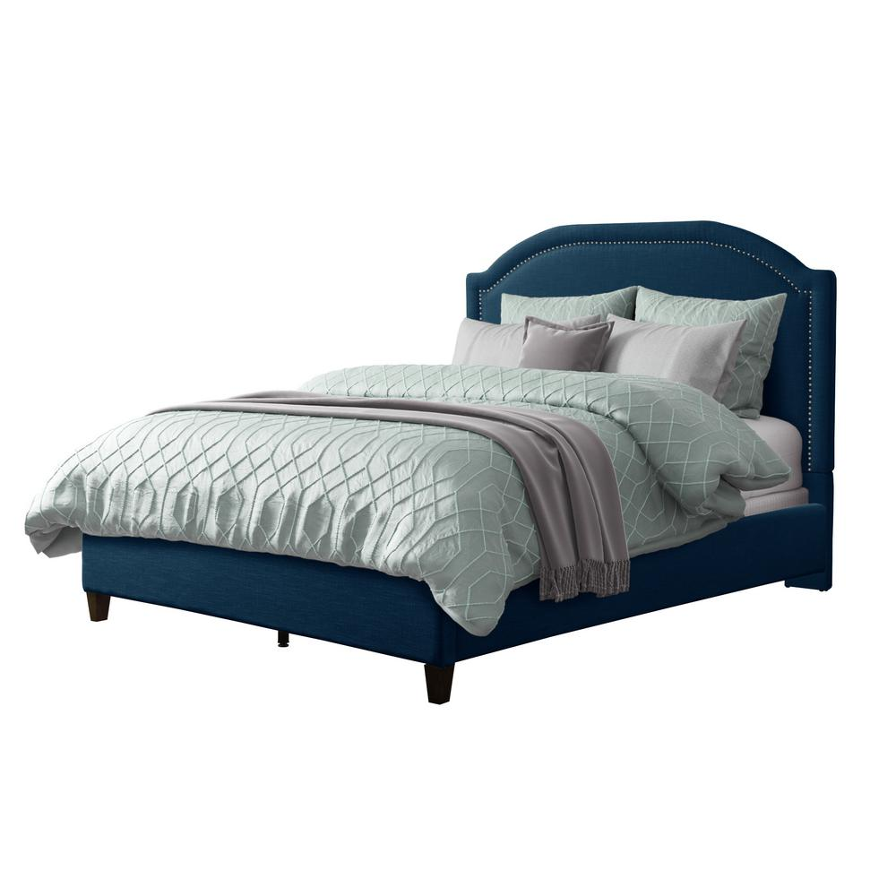 Florence Navy Blue Fabric Double Bed Frame with Arched Headboard and Nailhead Trim Accents