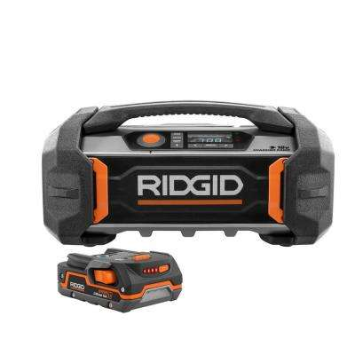 18-Volt Cordless Jobsite Charging Radio with 1.5 Ah Battery